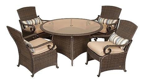La Z Boy Outdoor Lake Como 5 Piece Resin Wicker Patio Furniture Dining Set