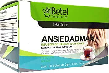 Ansiedadmax Tea by Betel Natural - Natural Support for Stress and Anxiety - 30 Tea Bags