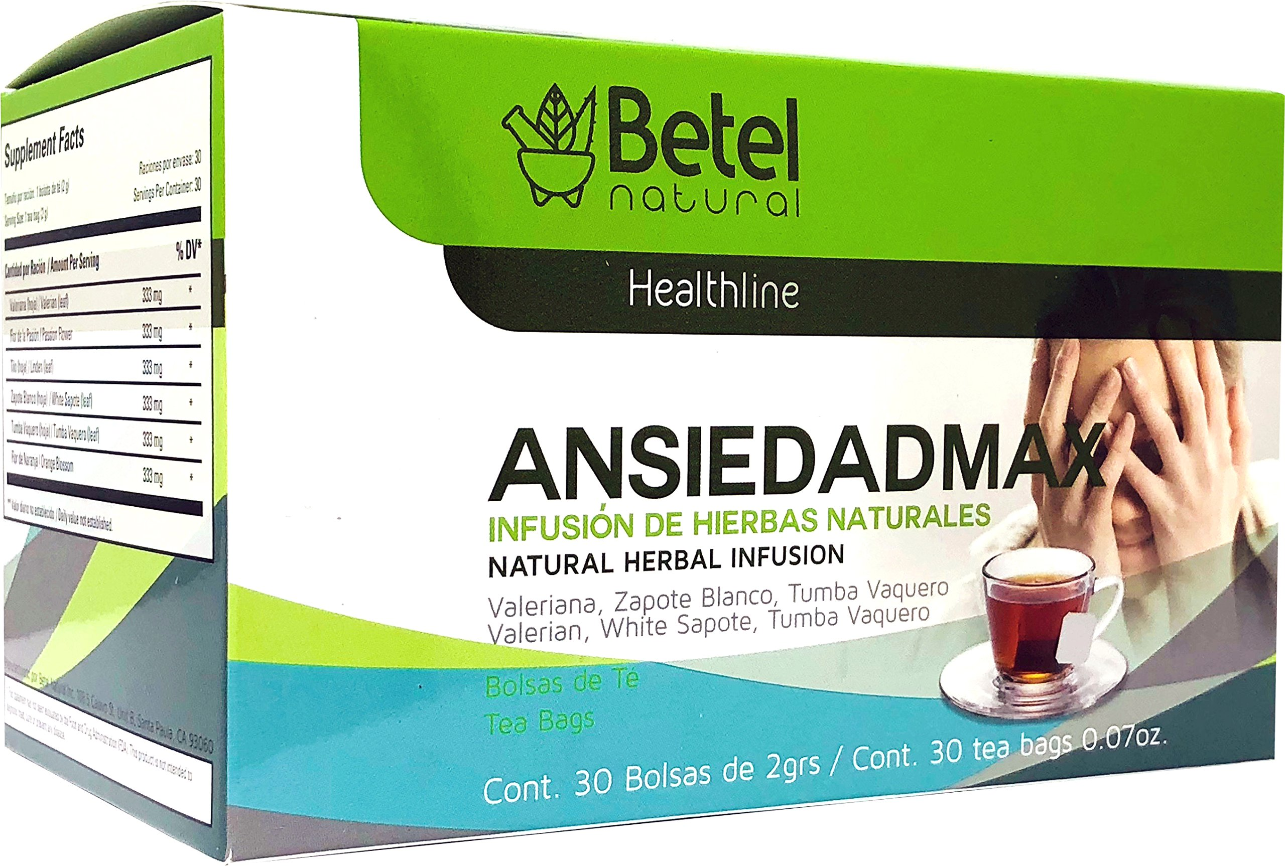 Amazon.com: Ansiedadmax Tea by Betel Natural - Natural Support for Stress and Anxiety - 30 Tea Bags: Health & Personal Care