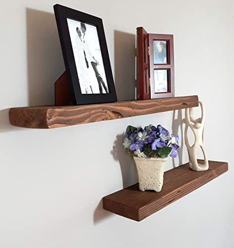 """1 Shelf - 18/""""L x 5.25/""""D Made for Drywall Espresso Reclaimed Rustic Wood Floating Shelf No Tools Installation Easy Choose Your Size , Distressed Wood Weathered Edge"""