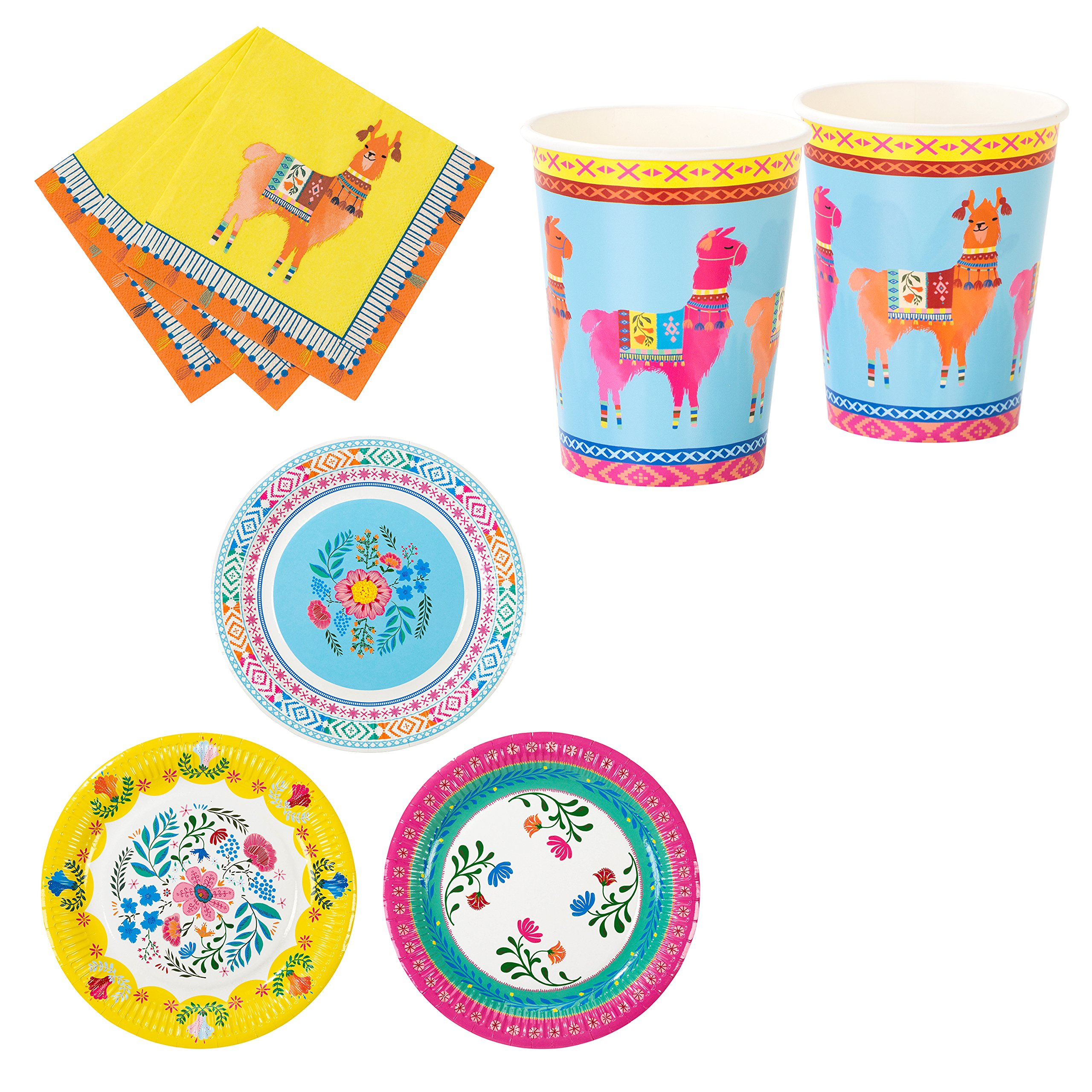 Talking Tables Bohemian, Llama & Floral Theme Summer Party Bundle | Paper Plates, Napkins & Cup