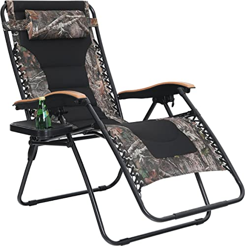 PHI VILLA Oversize XL Padded Zero Gravity Lounge Chair Wide Armrest Adjustable Recliner with Cup Holder, Support 350 LBS Camouflage