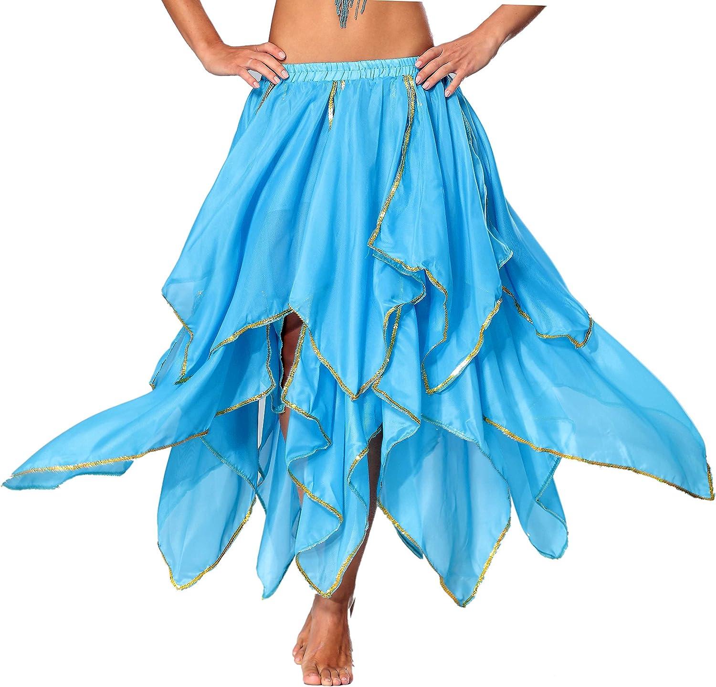 Seawhisper レディース シフォンフェアリーファンシースカート ベリーダンススカート スパンコール サイドスリット