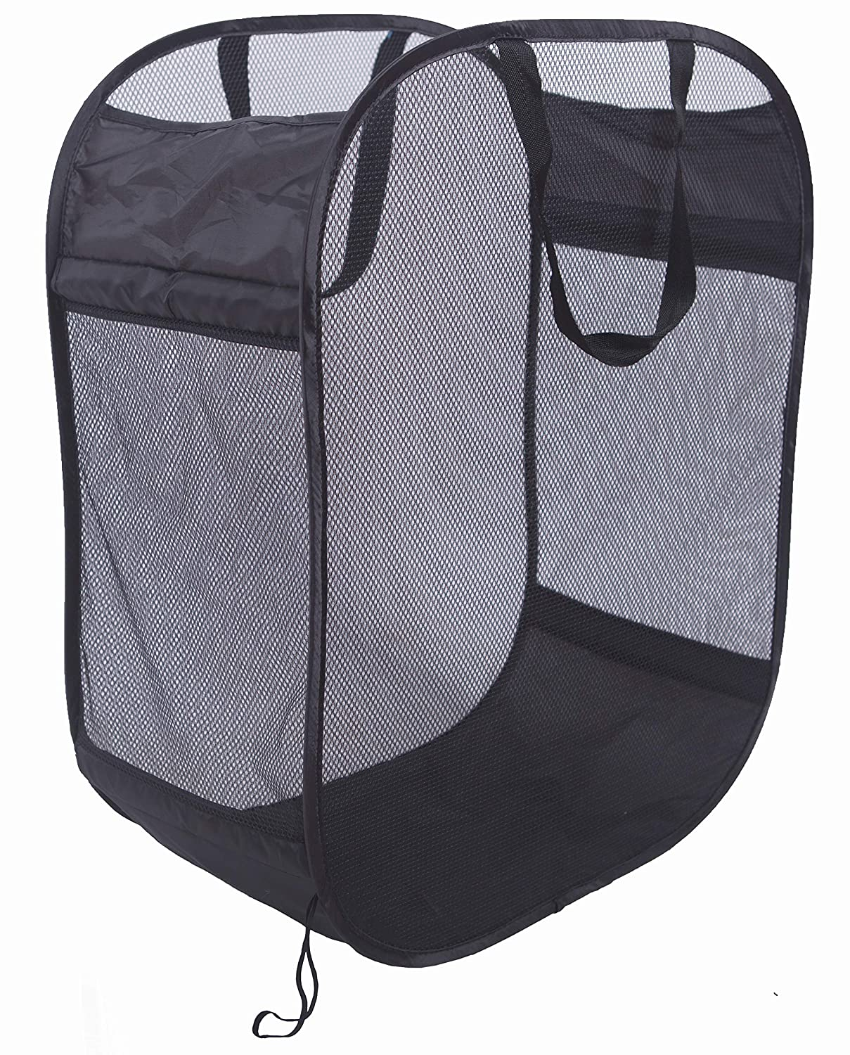 Amelitory Mesh Pop-up Laundry Hamper Easy Foldable Laundry Baskets with Two Durable Handles for Home,Dorm,Travelling Storage Black