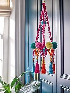 Talking Tables Boho Décor | Boho Chandelier Pom Poms Decoration