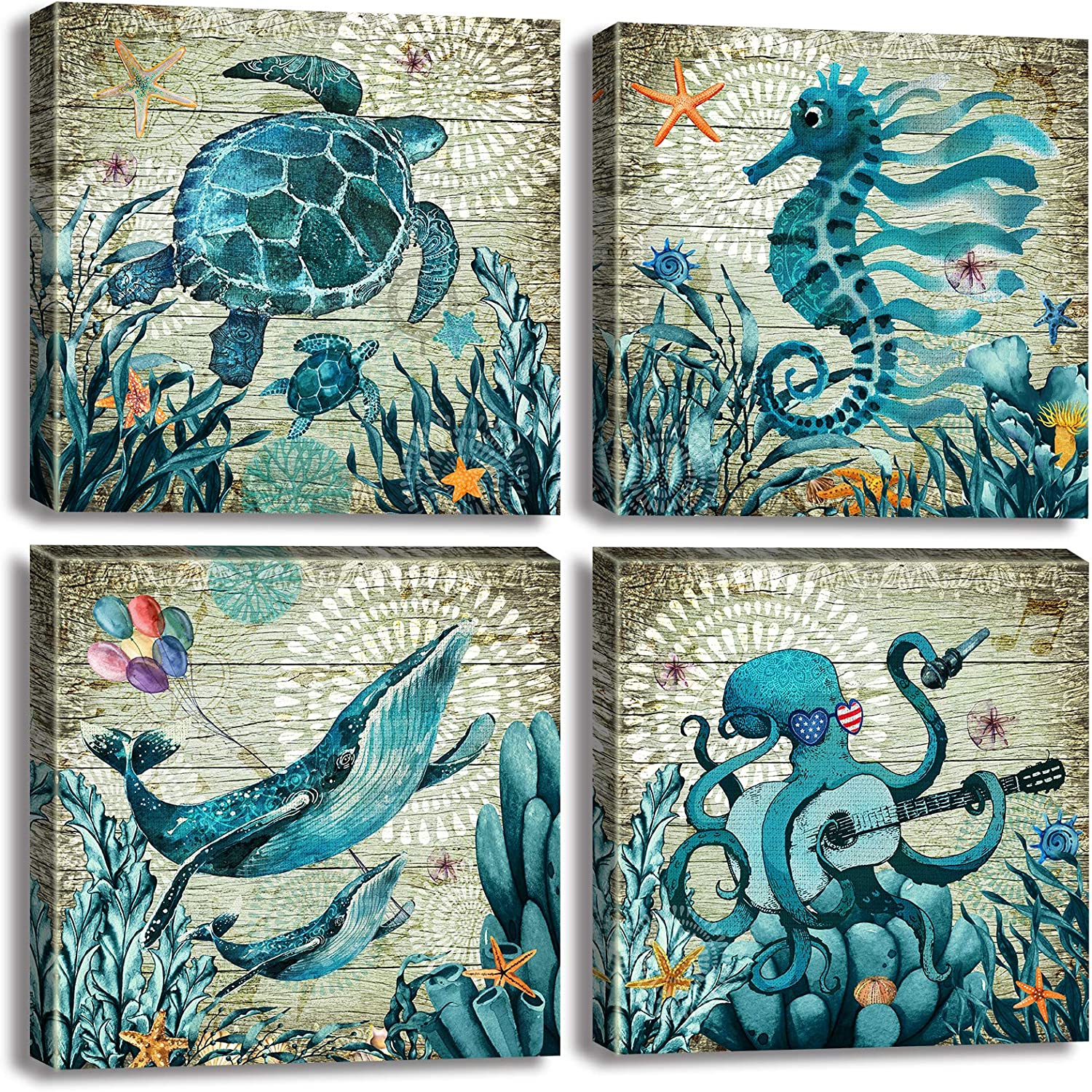 Bathroom Wall Art Decor Blue Watercolor Theme Marine Animal Pictures Under Ocean Dolphin Seahorse Octopus Modern Artwork Kitchen Home Canvas Decorations 12