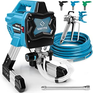 Savito Paint Sprayer Electric Airless Sprayer - Portatable and Very Powerful 650W - Power Paint Hvlp Sprayer - for Home Interior Exterior -Paint Sprayer with Piston Pump and Accessories