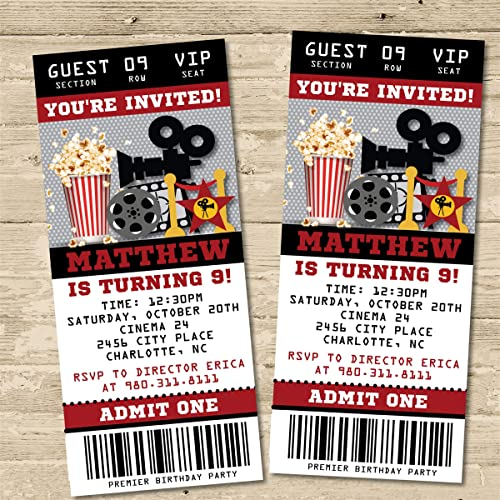 Amazon Com Movie Birthday Party Ticket Invitations Movie Birthday