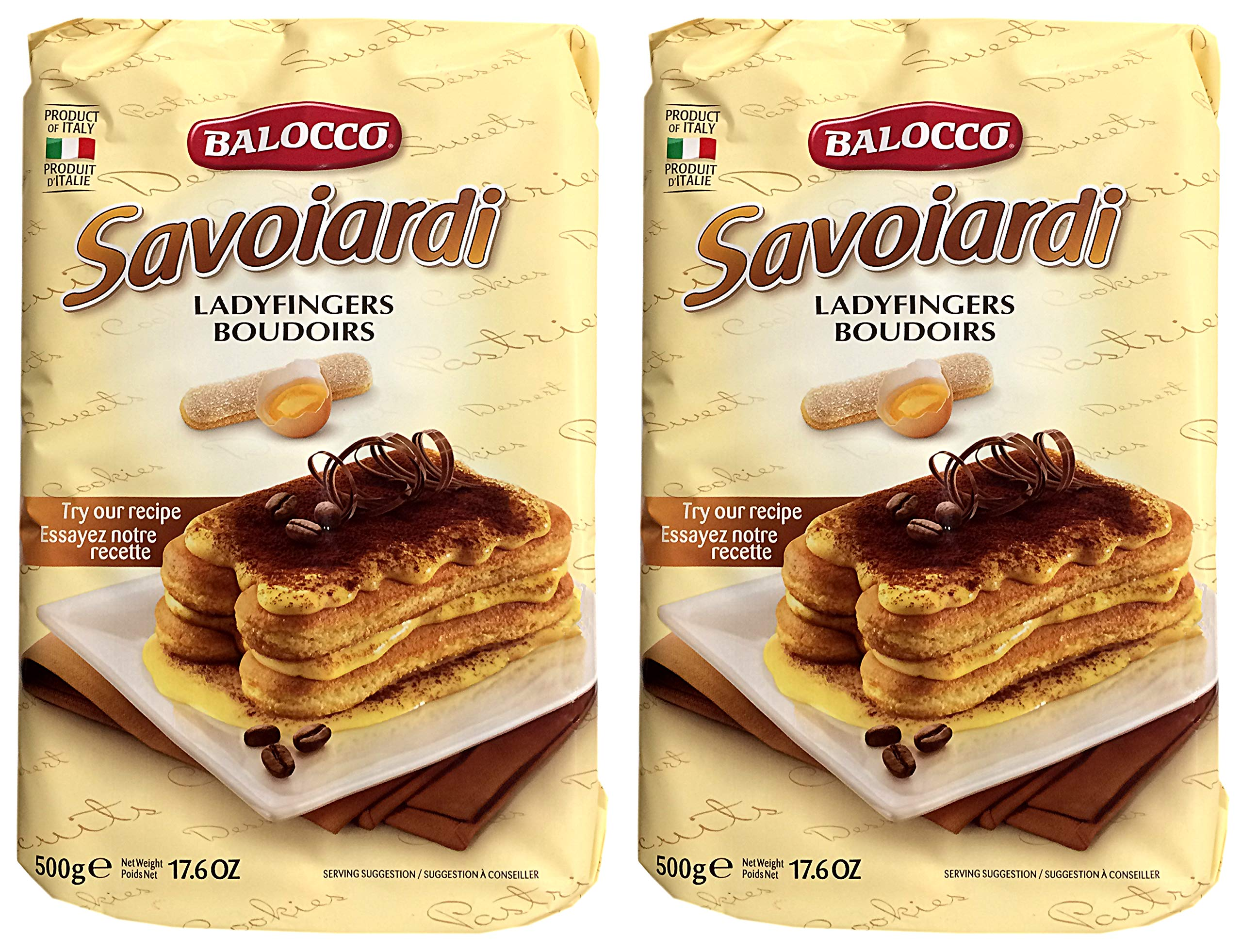 Bolacco, Savoiardi Ladyfingers (Pack of 2) Imported from Fossano, Italy, 17.6 oz (each) by Bolacco