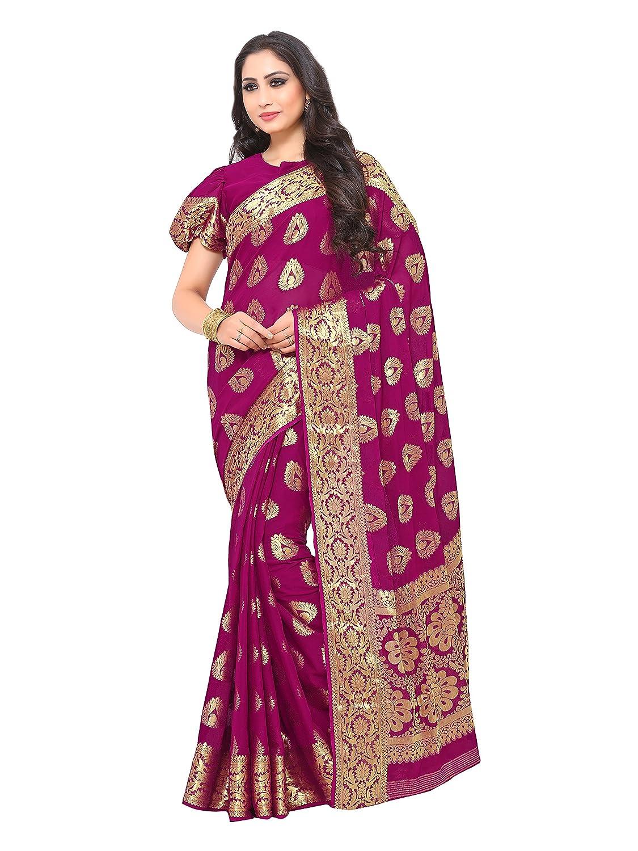 Purple Color Kanchipuram Chiffon Saree With Running Unstitched Blouse