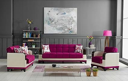 Amazon.com: ALMIRA Functional Futon Living room Set (Golf Burgundy ...