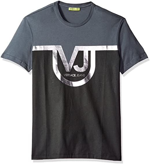 06bdaa259562 Amazon.com  Versace Jeans Men s Two Color T-Shirt With Front Logo  Clothing