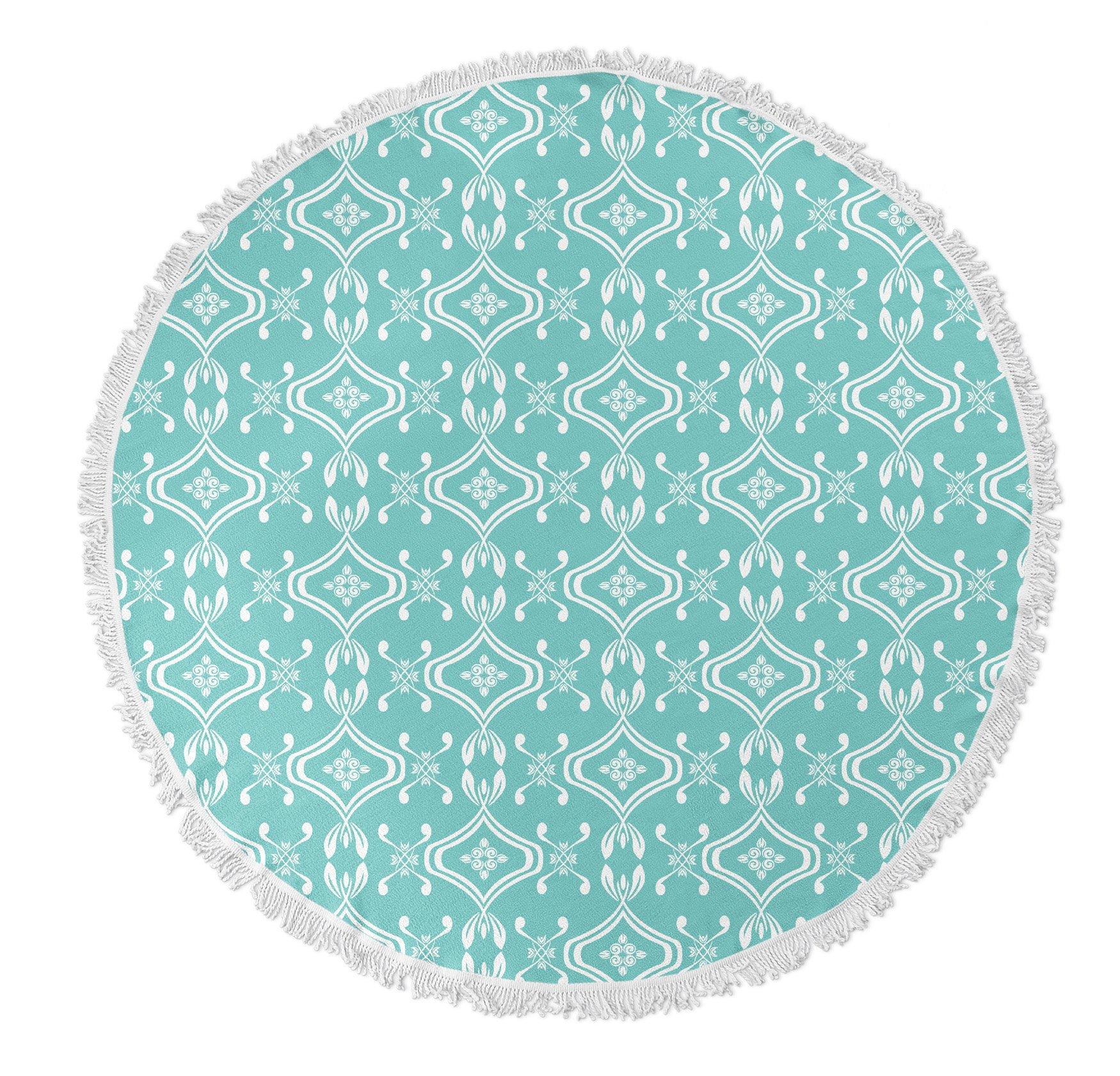 KAVKA Designs Beach Bingo Round Beach Towel, (Teal) - TRUDYBOOM Collection, Size: 60x60x.5 - (TELAVC026FSBTR60) by KAVKA DESIGNS