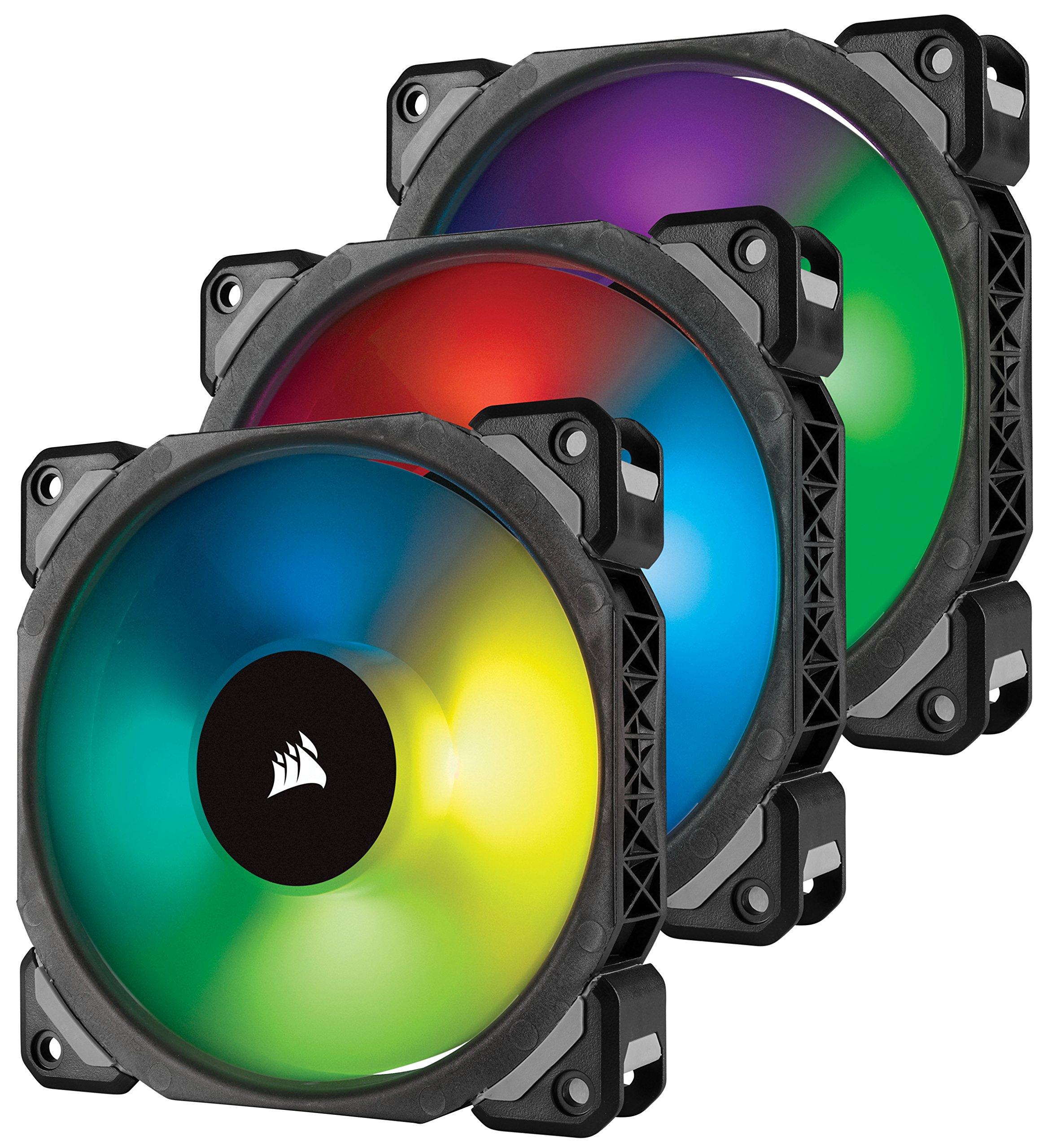 Corsair ML120 PRO 120mm Premium Magnetic Levitation RGB LED PWM Fan with Lighting Node 3 Pack (CO-9050076-WW) by Corsair