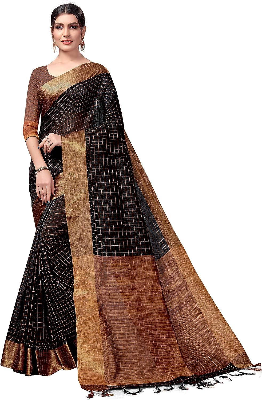 Ksh-Micro Noir/_Taille libre Kanchan Saree en coton m/élang/é avec chemisier Id/éal pour les femmes et les filles