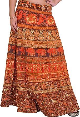 Exotic India - Falda - para Mujer Brown and Red: Amazon.es: Ropa y ...