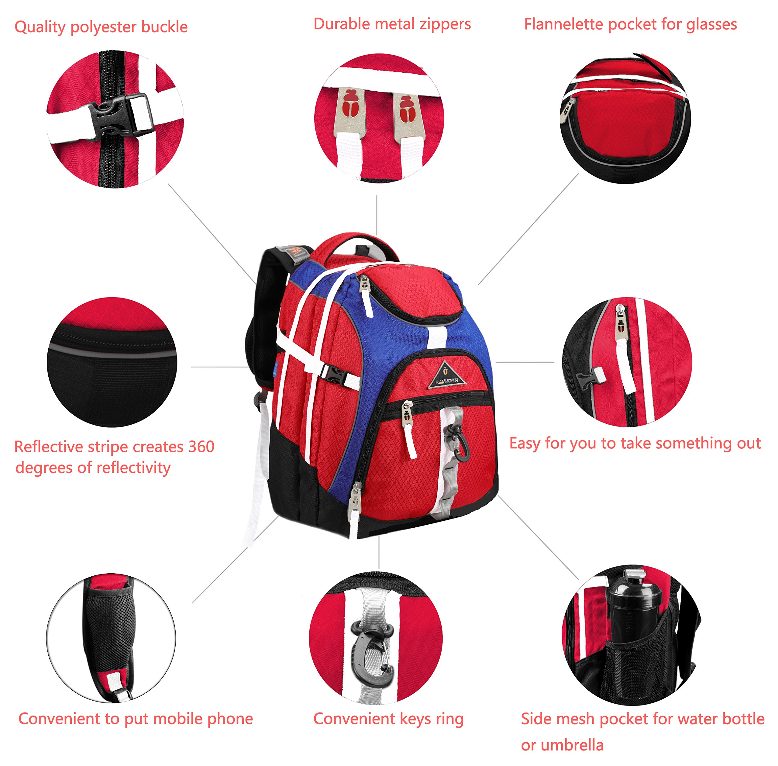 Laptop Backpack 15.6-Inch Business College Travel Computer Bag for Surface Water-Resistant Waterproof USB Charging Port Slim Light Weight Reflective Strip Rain Cover Large Capacity by Ramhorn(warmred) by Ramhorn (Image #4)