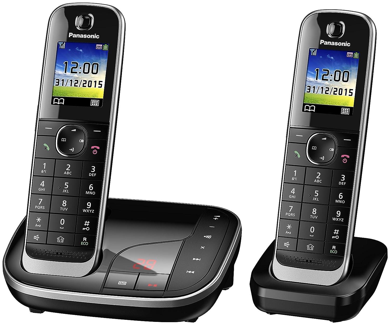 Panasonic téléphone sans Fil KX-TGJ322GB Duo avec répondeur (Version Allemande!) - Noir - INCL. 1 zusätzliches Extra combiné supplémentaire + Chargeur de Table