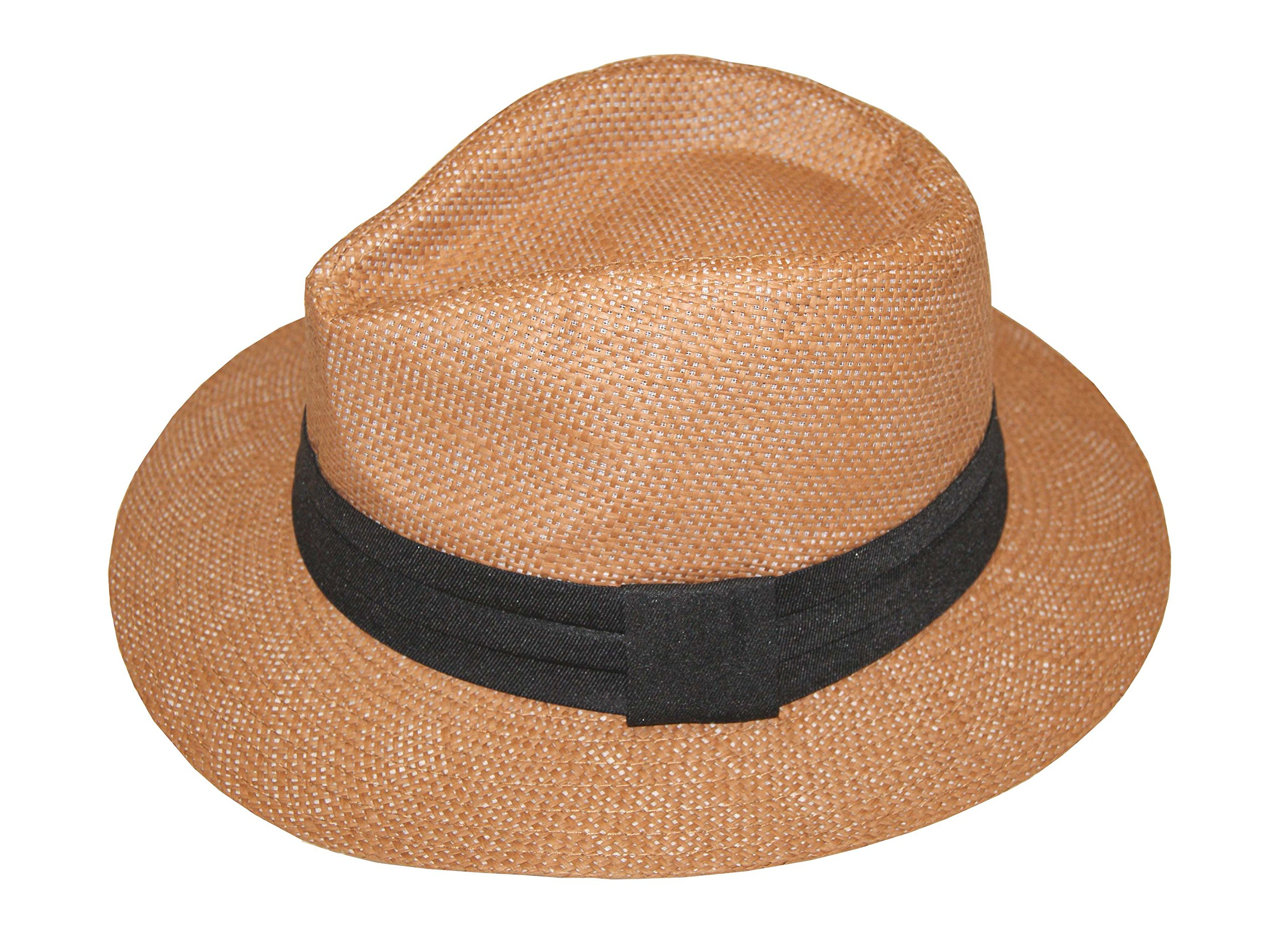 Lady's Fashion Summer Golf Sun Hat Panama Cap - Brand New (Brown, 57cm)