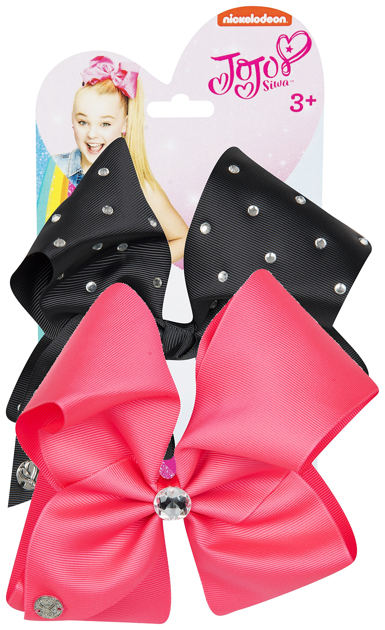 JoJo Bows Signature Collection 2 x Large Hair Bows - Limited Edition - Best Present for Your Little Girl – Pink & Black