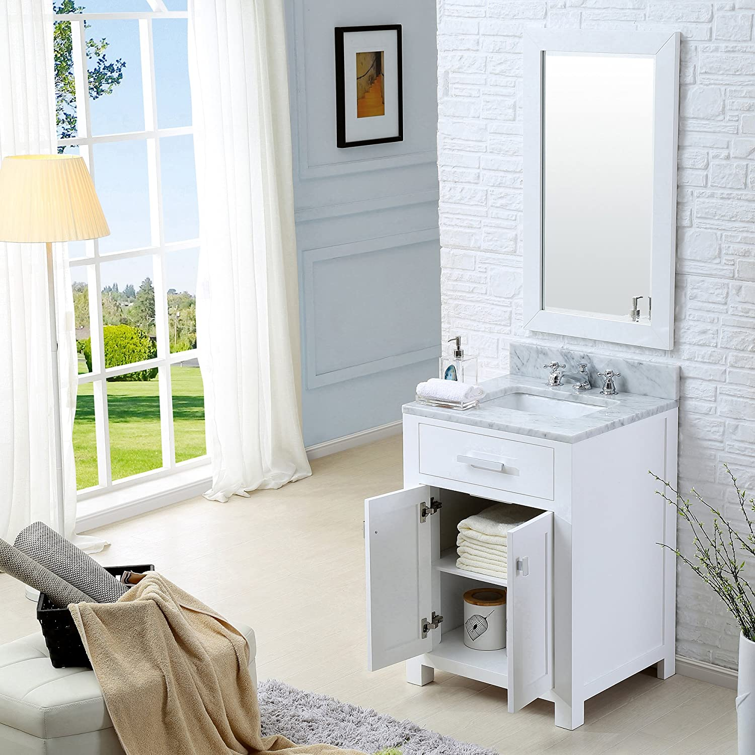 Water Creation Madison 24w 24 Solid White Single Sink Bathroom Vanity From The Madison Collection Pure White Amazon Com