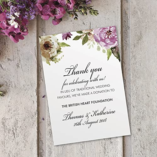 20x Charity Wedding Favour Cards Personalised Donation Cancer