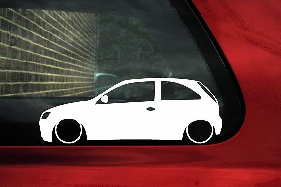 Abgesenkter Opel Corsa C 3 Türer Outline Motiv Blatt Silhouette Auto