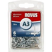 Novus Aluminium blinde klinknagels 6 mm, 70 klinknagels, Ø 3 mm, 2,5-3,5 mm klemlengte, voor bevestiging van stoffen en…