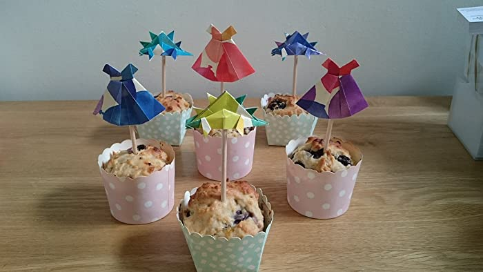 Set Of 10 Origami Cupcake Toppers Birthday Party Baby Shower