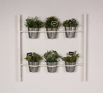 Groves Indoor Herb Garden Hanging 6 Pot Wall Planter, White