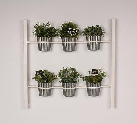 Groves Indoor Herb Garden Hanging 6 Pot Wall Planter, White