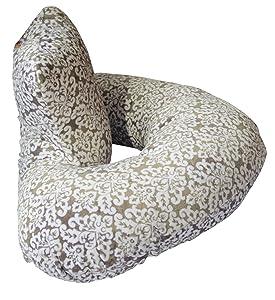 The 4 in 1 One Z Grey Damask Nursing Pillow w/Amazing Back Support- Grey Lattice