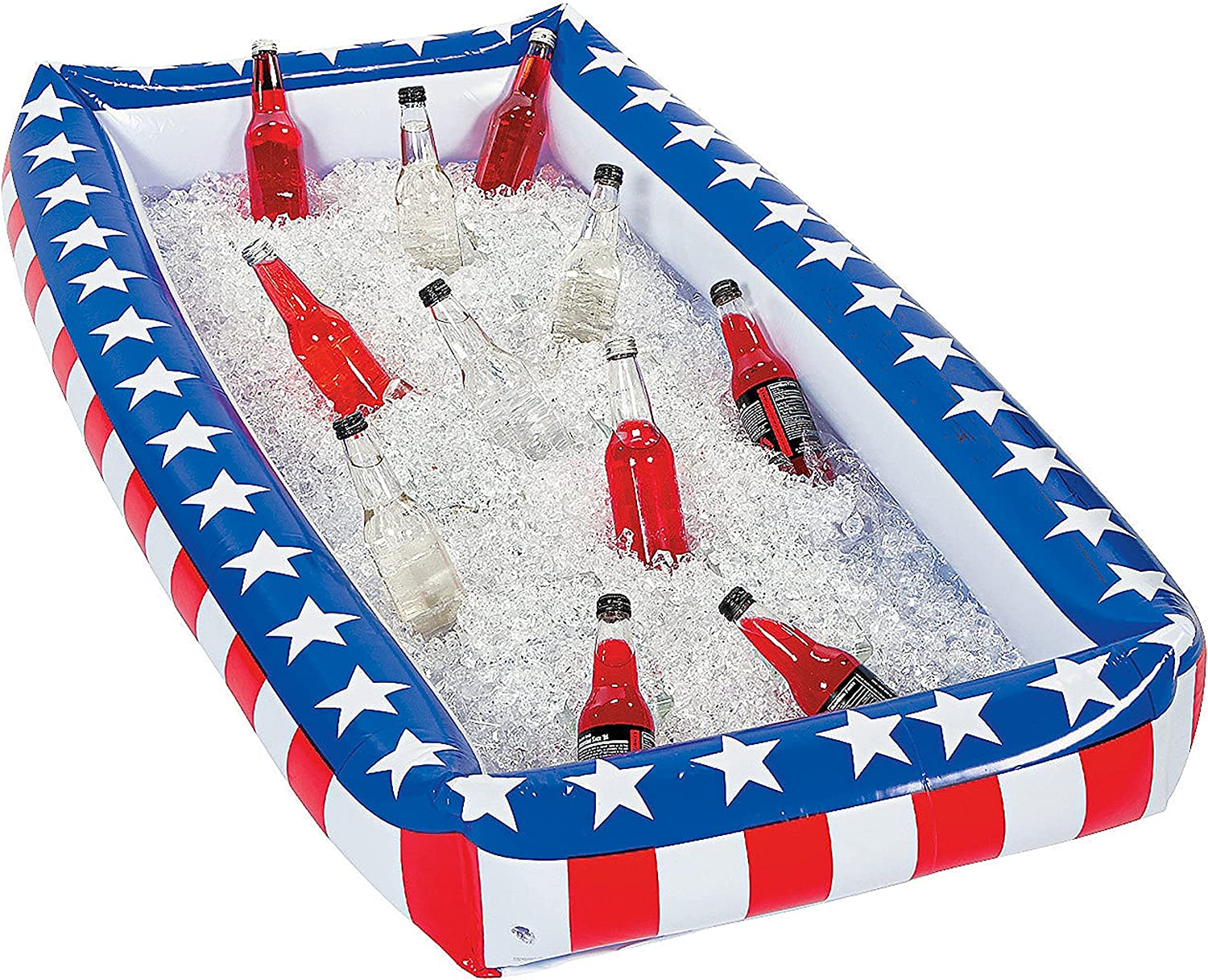 Patriotic Inflatable Serving Bar Ice Buffet Cooler Salad Serving Trays - 4th of July Party Supplies, Independence Day Fourth of July Party BBQ Cooler Indoor Outdoor Picnic Pool Party by 4E's Novelty