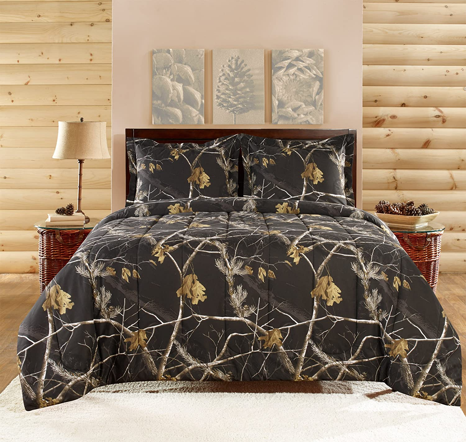 3 Piece Comforter Set, Queen, Bright Black
