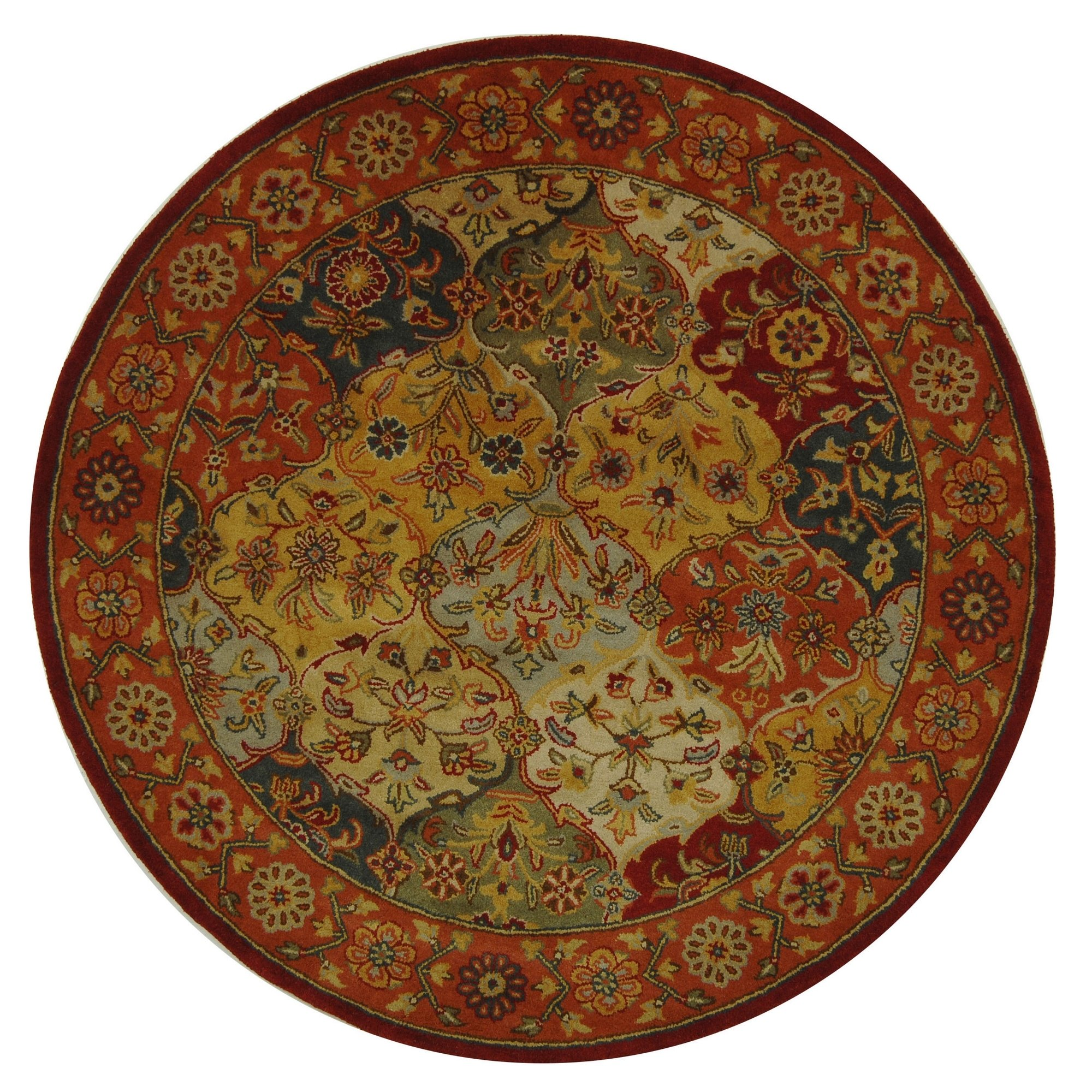 Safavieh Heritage Collection HG510B Handcrafted Traditional Oriental Multi and Red Wool Round Area Rug (6' Diameter) by Safavieh