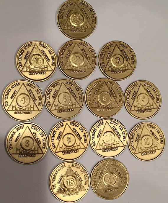 Complete 18 Month Set of Bronze AA Medallions 14 Chips 24 Hours Months 1-11  18 and 1 Year