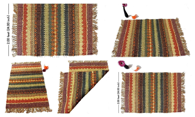 iinfinize tapete de Yute Indio Kilim Reversible, Decorativo ...