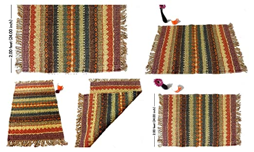 iinfinize tapete de Yute Indio Kilim Reversible, Decorativo ...