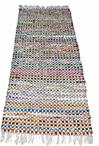 Benzara Grid Pattern Jute/Recycle Cotton Cutting Monterey Chindi Rug, Ivory Multicolor