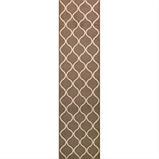 product image for Maples Rugs Rebecca Contemporary Runner Rug Non Slip Hallway Entry Carpet [Made in USA], 2'6 x 10, Café Brown/White