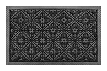 Front Door Mat Large Outdoor Indoor Entrance Doormat BY ABI Home   Charcoal  Black Polypropylene Waterproof