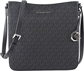 Michael Kors Jet Set Large Messenger Bag Crossbody Black MK Signature