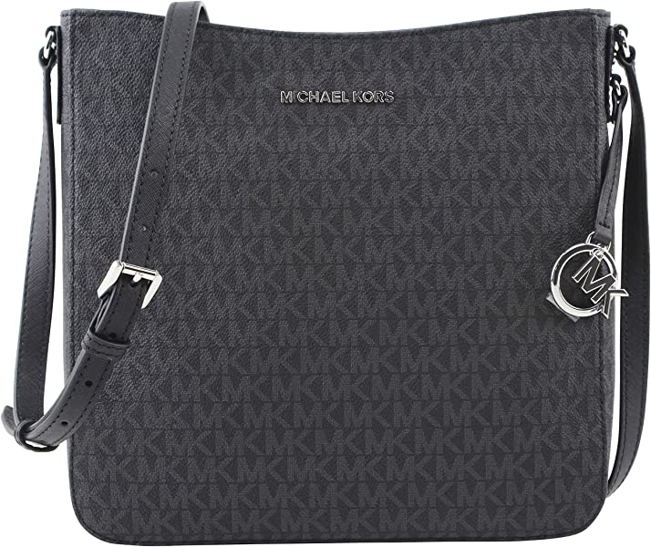 1f8fcbcfe7d7 Amazon.com: Michael Kors Jet Set Large Messenger Bag Crossbody Black MK  Signature: Shoes