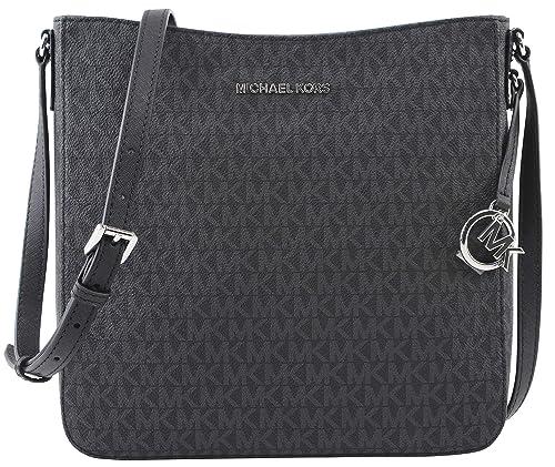 bfa8251c0 Michael Kors Jet Set Large Messenger Bag Crossbody Black MK Signature:  Amazon.ca: Shoes & Handbags