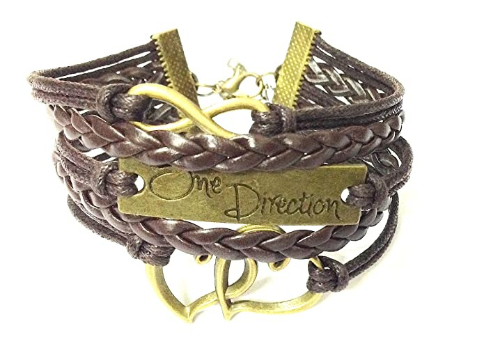 One Direction Leather Charm For Women -Brown Bangles & Bracelets at amazon
