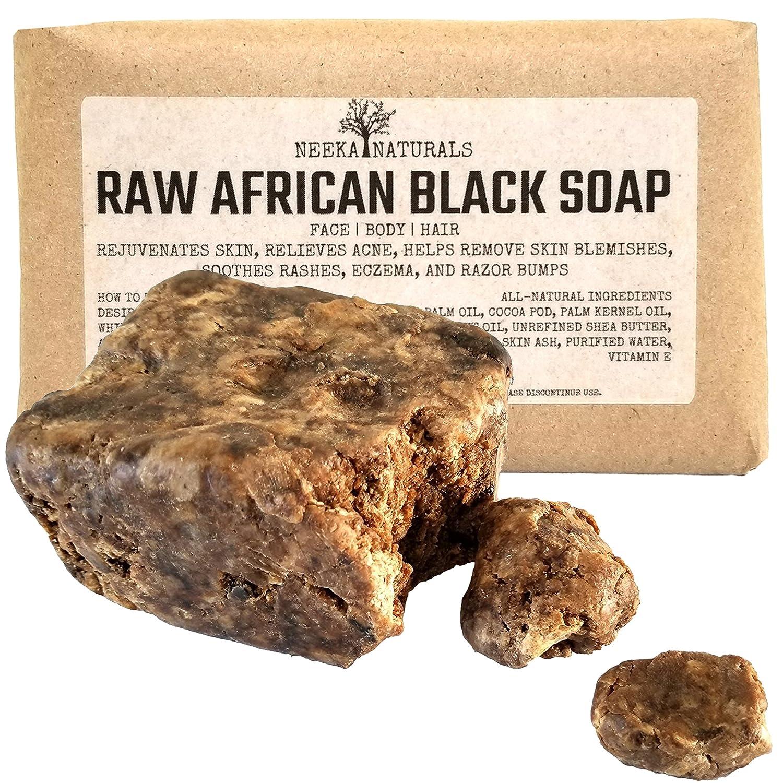 African Black Soap Bar with Shea Butter 1 Pound - Face, Body Wash, Dandruff Shampoo, Moisturizer, Toner, Acne Prone, Skin Moisturizer for Eczema, Clarifying Mud Mask, Natural from Ghana Neeka Naturals