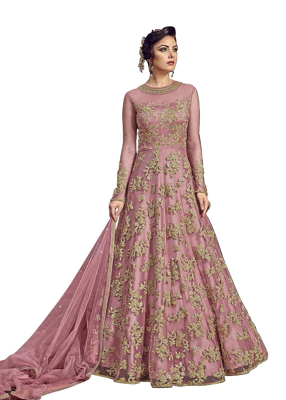dd3c3a86fd6 FABZARA Women s Net Glitter Zari Work Gown (Pink