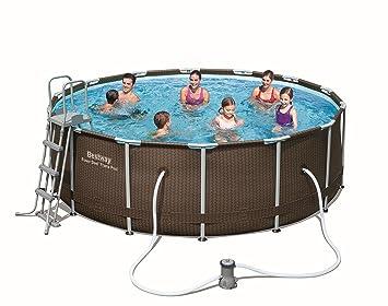 Bestway 14 Ft Rattan Frame Pool Set Amazon Co Uk Garden Outdoors