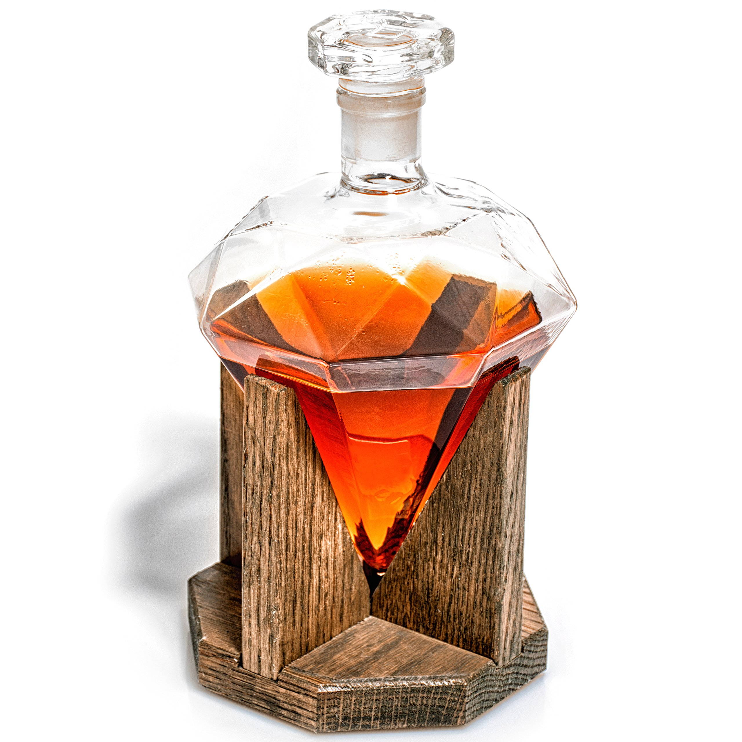 Whiskey Decanter - Newlywed Gift Diamond Decanters for Alcohol, Rum, Bourbon, Scotch, Wine Decanter - Diamond 10 Year Anniversary Gift or Groomsmen Gifts - 1000ml Liquor Decanter (Prestige Decanters) by Prestige Decanters