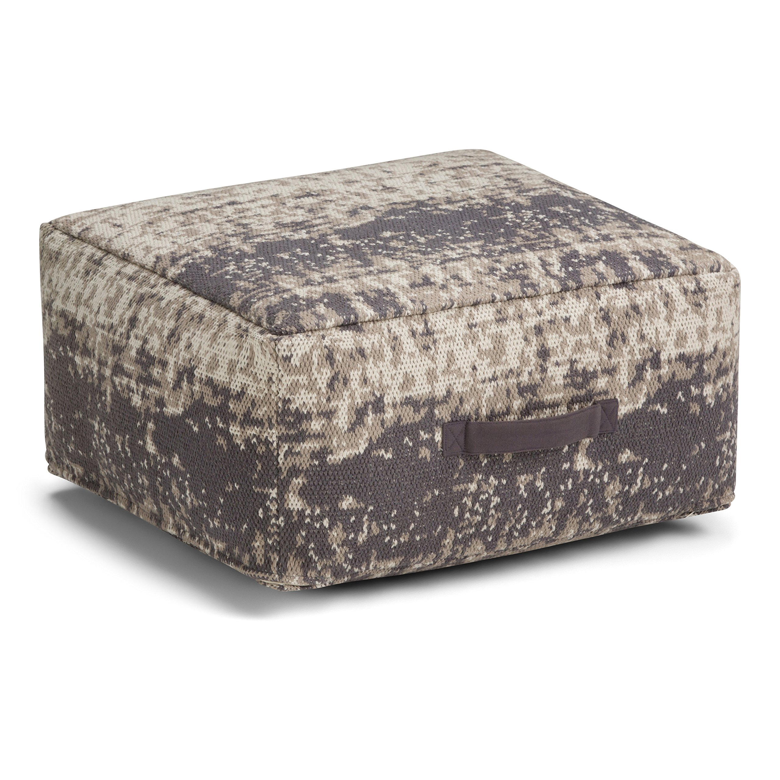 Simpli Home Tilley Square Pouf, Taupe and Grey